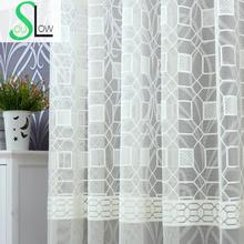 Slow Soul Jade White Beige Coffee Water Cube Warp Jacquard Curtain Modern Bedroom Geometric Curtains For Living Room Tulle