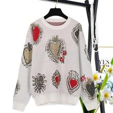 2b450fff1b659b Tunjuefs słodki geometryczny wzór sweter kobiety Jumper jesień 2018 nowy  sweter serce żakardowe swetry dzianinowy top zima Pull .