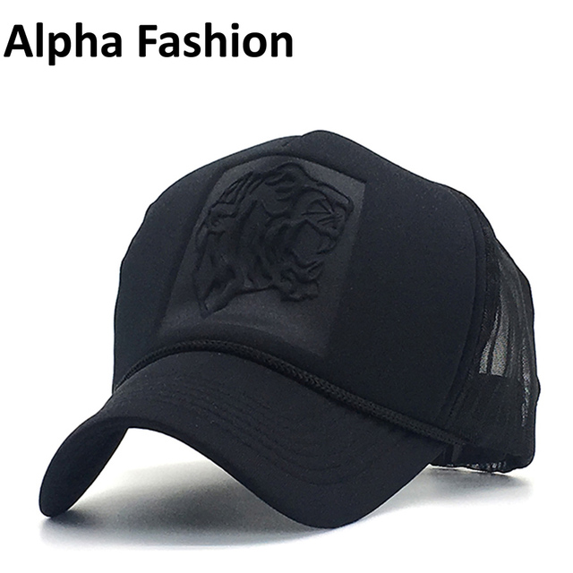 718f15c7a36 Alpha Fashion Baseball Cap Brand Hip Hop Snapback Trucker Hat Black Color  Adjustable Mesh Cap for Men Dad Hats Summer Outdoor