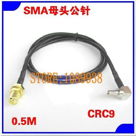 antennkabel 0,5M CRC9 hane till RP-SMA kvinnlig antenn Pigtail kabel