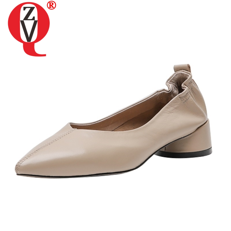 ZVQ shoes women spring new fashion sexy high quality genuine leather pointed toe women pumps outside black apricot ladies shoesZVQ shoes women spring new fashion sexy high quality genuine leather pointed toe women pumps outside black apricot ladies shoes