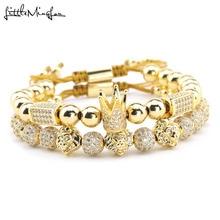 Luxury Brand man bracelet CZ adjustable handmade braided king crown lion head ball beads charm bracelets bangles for men jewelry