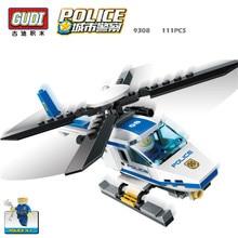 GUDI 111+Pcs Blocks Police Series Helicopter 3D Plastic Toy Assembled Model Building Bricks Educational DIY Baby Kids Toys 9308