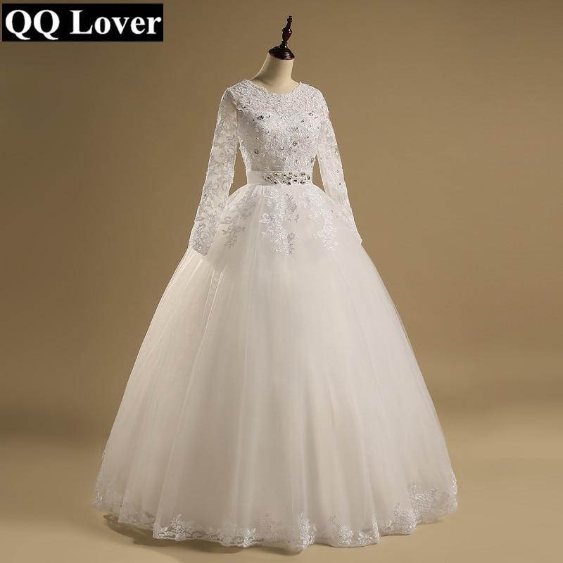 QQ Lover 2019 New Arrival Lace Long Sleeve Wedding Dress Bridal Gown Vestido De Noiva