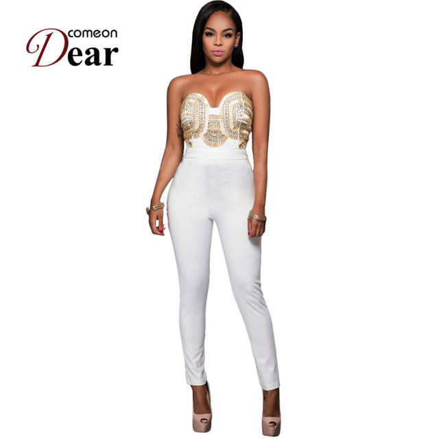 Comeondear Rompers Womens Jumpsuit Off Shoulder White Gold