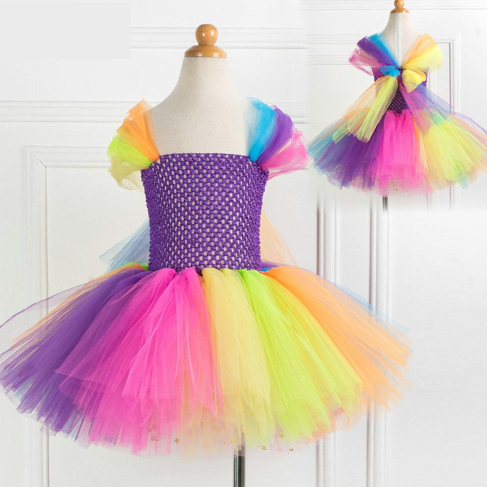 Girls' Dress Rainbow Princess Mesh Dress Party Bow Halloween Christmas Cosplay Costume Kids Performance Clothing Party Dress