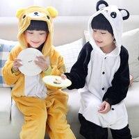 Children Cartoon Pajamas Panda Bear Long Sleeve Baby Girls Boys Clothes Yellow Warm Nightgown Pyjamas Cute