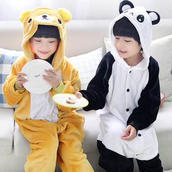 Children cartoon pajamas Panda Bear baby girls boys clothes yellow warm nightgown pyjamas cute kids pijamas infantil STR16 одежда на маленьких мальчиков