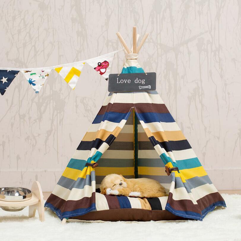 Mode Stripe Pliable Pet Maison Tente Chenil Chiot Chien Chat Maison Lit Maison avec Coussin SE15