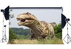 Image 1 - Динозавр фон Юрского периода джунгли зеленые деревья природа наружная сцена страшный динозавр фотография фон