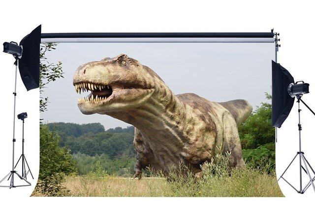 Динозавр фон Юрского периода джунгли зеленые деревья природа наружная сцена страшный динозавр фотография фон