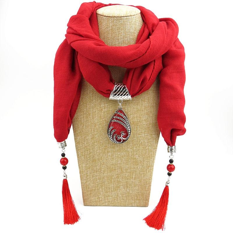 RUNMEIFA Mujeres Muselina Joyas Borlas Bufanda Collar Colgante - Accesorios para la ropa