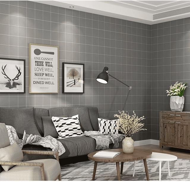 New Modern Minimalist Black White Plaid Wallpaper Nordic Style - White-living-room-style