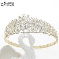 ASNORA Fashion Gold Tiaras Crowns Women Hairwear Wedding Hair Accessories Bridal Hair Jewelry Princess Circle Crowns Pageant