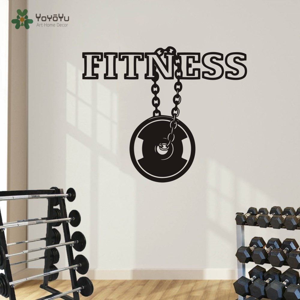 Fitness Sports Logo Wall Vinyl Decal Gym Emblem Wall Sticker Sport DIY Home Decor Living Room Wall Murals Art Boys Room NY-151