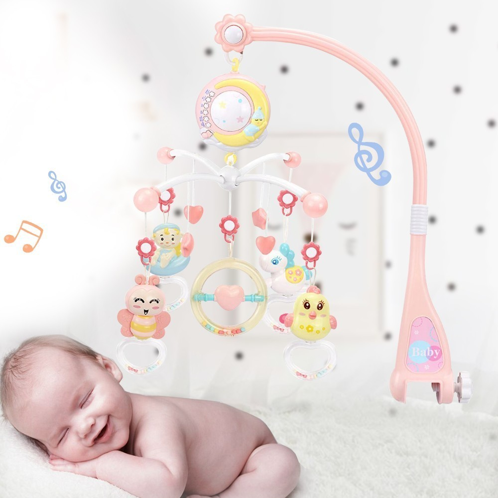 Baby Crib Mobiles Rattles Music Educational Toys Bed Bell Carousel For Cots Projection Infant Baby Toy 0-12 Months For Newborns
