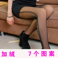 Autumn and winter thickening plus velvet seamless fishnet stockings gauze sexy step pattern tights