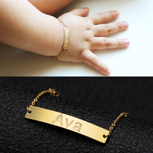Personalized Baby Name Bracelet BFF Stainless Steel Toddler Children Custom ID Engraved