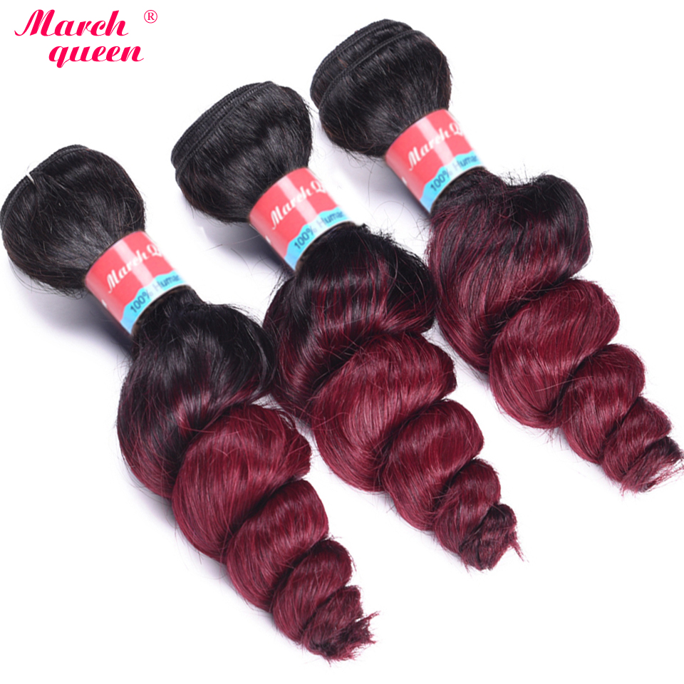 March Queen Indian Loose Wave Hair Weave Bundles Ombre T1b/99j Color Human Hair Extensions 3pcs Double Weft Hair 10-24 High Safety Hair Extensions & Wigs Human Hair Weaves