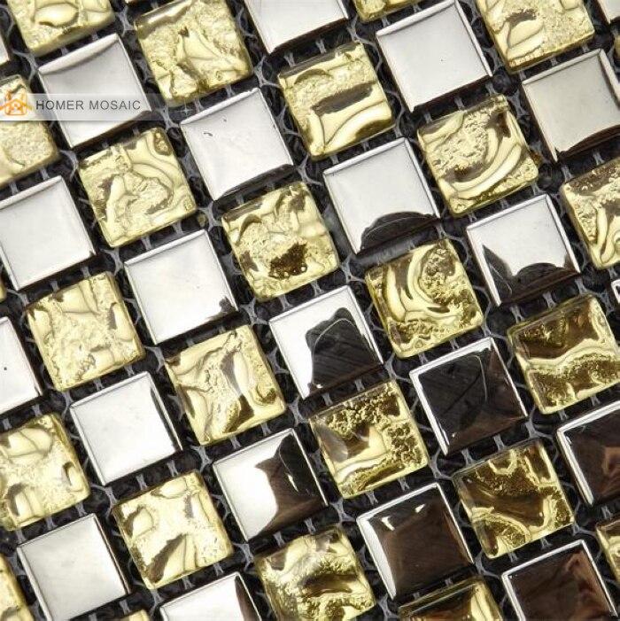 ᐃEnvío libre! Gris color de oro mezclado azulejos de mosaico de ...