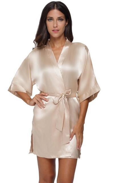 db3c6baa4b Plus Size Women s Satin Kimono Robe Sexy Short Sleeve Silk Bride Bridesmaid  Wedding Robes Woman Short Black Bathrobe night gowns