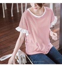 Blusa T Shirt 2019 Summer Womens T-shirt Knitted Lace Sleeves Striped Short Sleeve Women