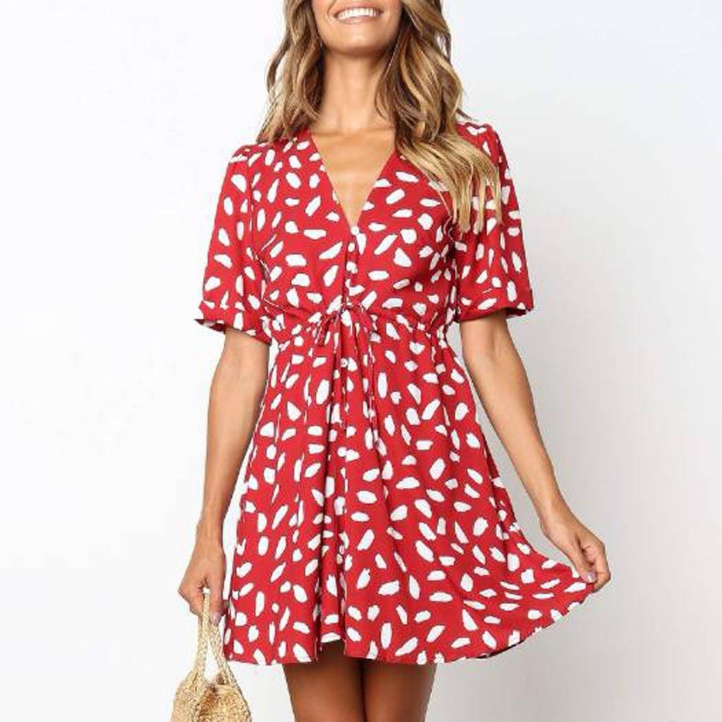 HTB1q0F4OCzqK1RjSZPcq6zTepXaE Short Sleeve dress woman basic Printing V-neck casual dress flare Button Summer Dress Princess Dress vestidos #G6