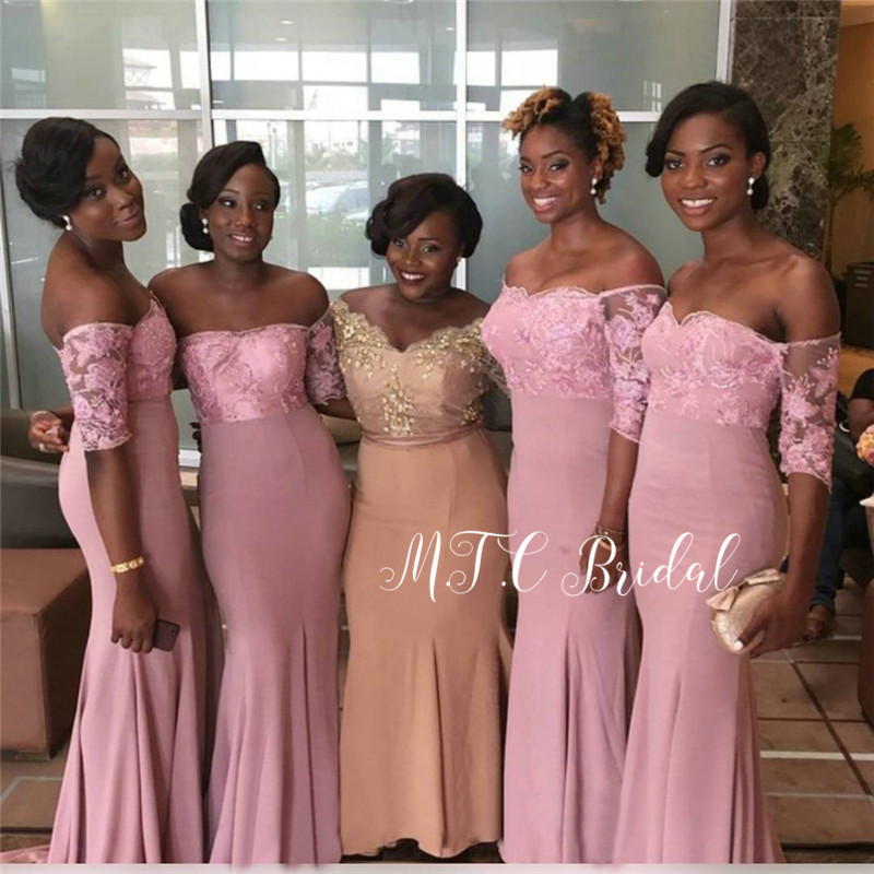 New 2019 Blush Short Sleeve   Bridesmaid     Dresses   Off The Shoulder Elastic Satin Lace Long African Maid Of Honor   Dress   Cheap