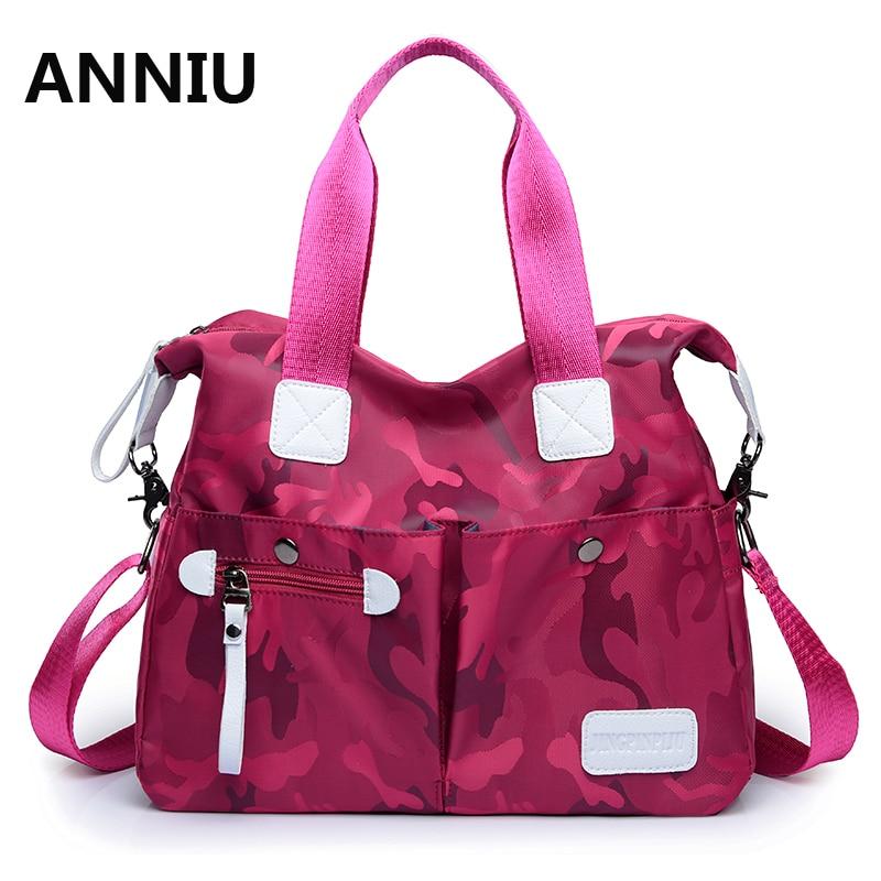 ANNIU 2017 New Fashion High Quality Brand Nylon Handbags Female Casual Tote Bag Camouflage Big Shoulder Bags bolsos mujer