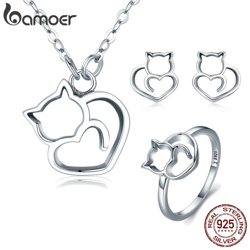 Aktiv Bamoer Heißer Verkauf 925 Sterling Silber Mode Nette Katze Tier Ohrringe Ringe Frauen Schmuck Sets Hochzeit Silber Schmuck Zhs093