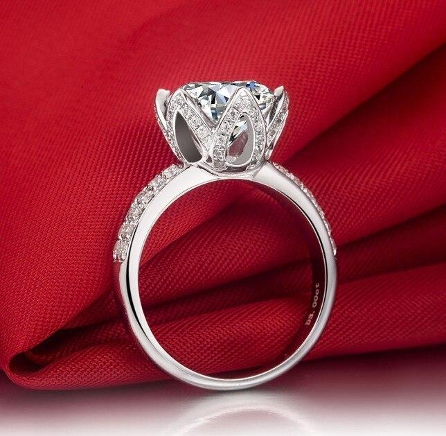 Royal Design Lotus Shape 3 carat SONA Synthetic diamonds Engagement