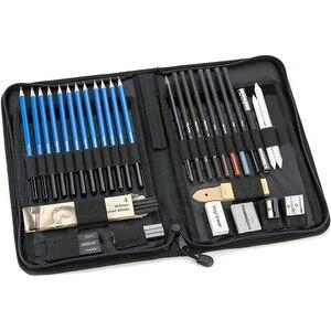 Image 1 - 40 pçs não deslizamento profissional para crianças presente esboçar lápis conjunto casa com zíper saco desenho arte suprimentos artigos de papelaria iniciante