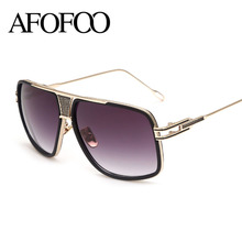 AFOFOO New Men Sunglasses Vintage Big Frame Sun Glasses Women Luxury Brand Designer Goggle Oversized Shades Sunglass UV400