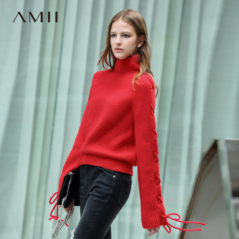 Amii Minimalist Women 2019 Autumn Sweater Chic Stretch X Strap High Quality Original Design Female Pullovers
