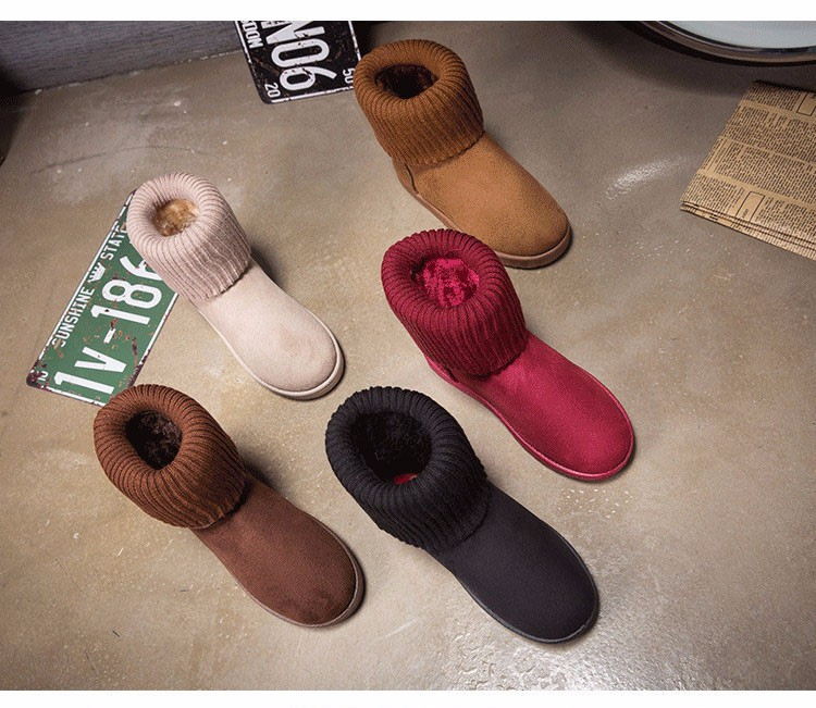 KUYUPP Patchwork Knitting Wool Women Snow Boots Winter Shoes 2016 Flat Heels Warm Plush Ankle Boots Slip On Womens Booties DX119 (53)