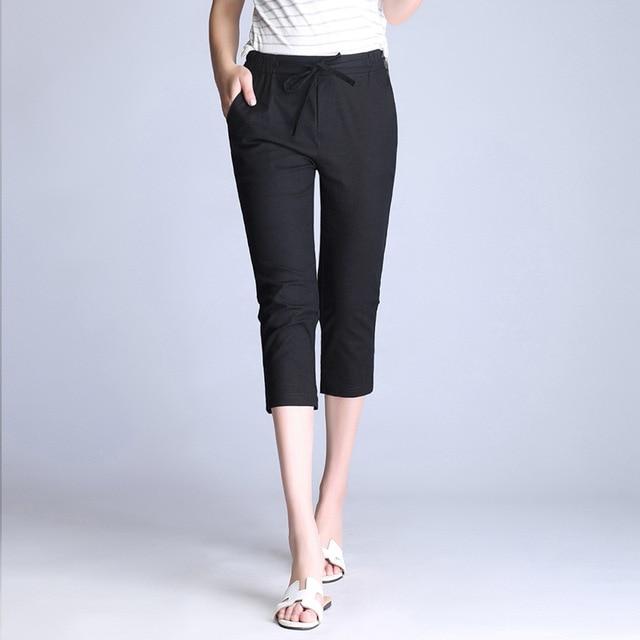 e6d8683c070 Summer Casual Calf Length Pants Women s PLus Size 4XL White Black Capris  Pants Cotton Linen Vintage