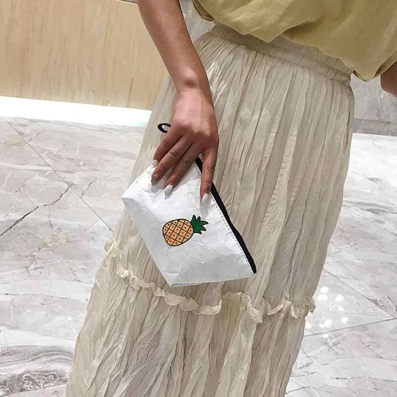 Portabel Besar Kapasitas Tyvek Makeup Perjalanan Tas Beige Clutch Wanita Koin Dompet Harian Zipper Dompet Ponsel Uang Kantong