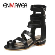 ENMAYER  PU Gladiator Sandals Women Casual Zip Fashion Low Shoes 2 Colors Woman 2019 Summer Size 34-34 LY1462
