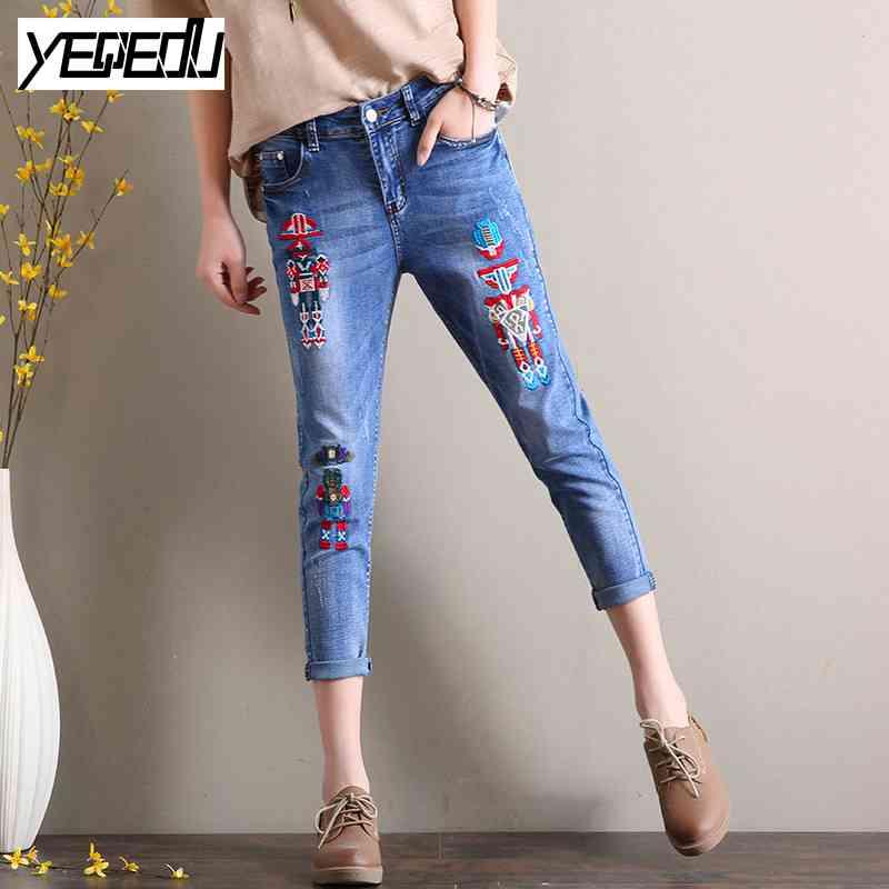 1719 Summer 2017 Slim Denim Korean jeans with embroidery Ankle length Harem jeans femme Cuffs