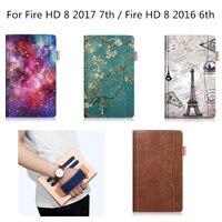 Trường hợp for All New Amazon Fire HD 8 Tablet 7th Sang Trọng Thế Hệ PU Leather Thông Minh Đứng Trường Hợp Che Đối Với Kindle Fire HD8 2016 6th