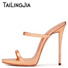 Women Rose Gold Summer Heels Woman High Heel Slip On Shiny Patent Leather Mirror Fashion Ladies Shoes Plus Size Wholesale