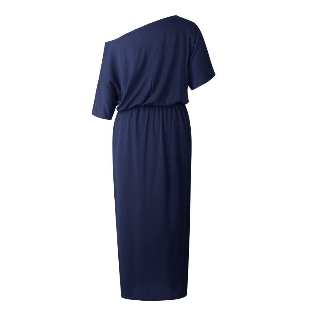 ... SHIBEVER Casual Loose Strapless women dress fashion sexy slash neck  Side slit Long maxi summer dress ... dea3d40ec867