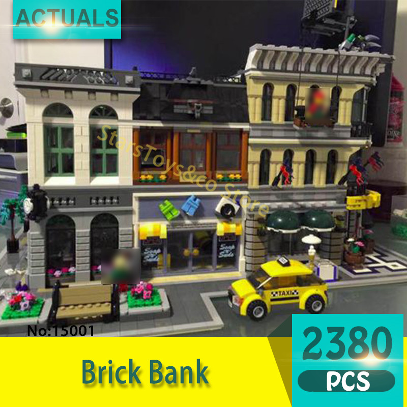 Lepin 15001 2380Pcs Street View series Brick Bank  Model Building Blocks Set  Bricks Toys For Children Gift 10251 loz street view architecture building brick 303pcs
