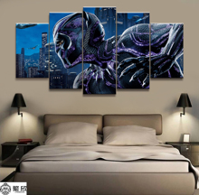 5 Pieces Marvel Black Panther Movie Poster Modern Wall Art Decorative Modular Framework Picture Canvas Printed One Set Painting