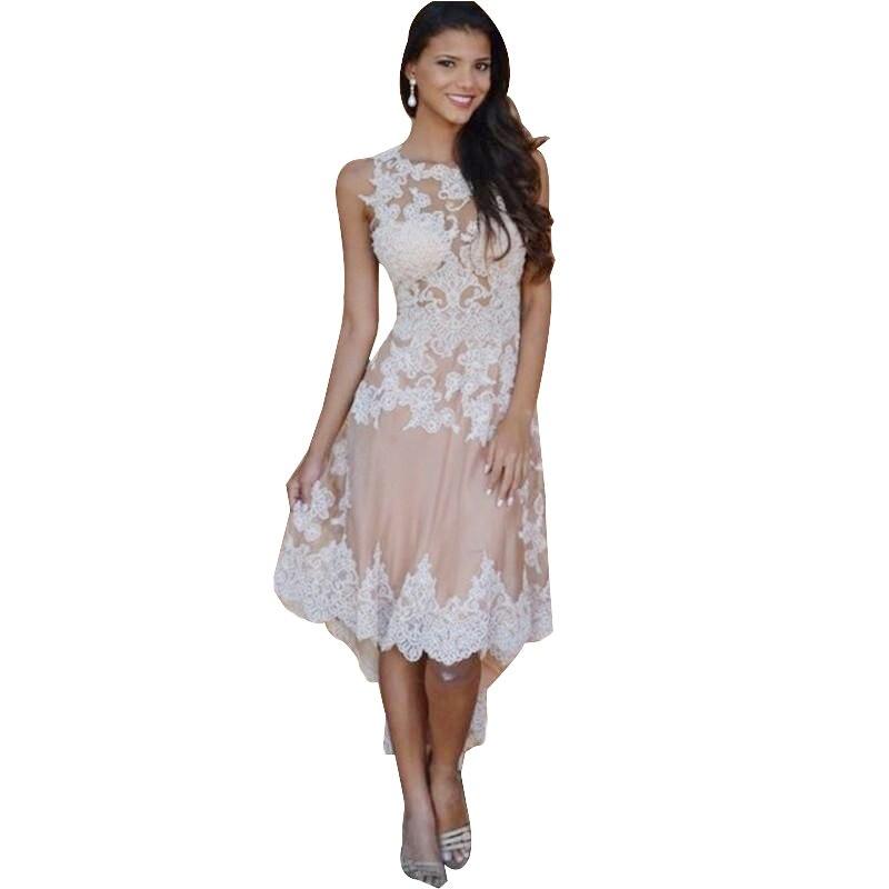 Miad de honor vestido escote redondo de encaje blanco champagne una línea corta