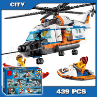 439pcs New City Coast Guard Heavy Duty Rescue Helicopter 10754 Model Building Blocks Children Toys Bricks Compatible with Lego