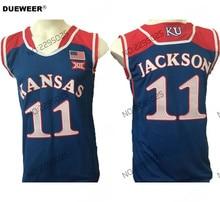 b17f4516bc4 DUEWEER Mens Throwback 11 Josh Jackson College Basketball Jersey Blue Josh  Jackson Kansas Jayhawks Basketball Stitched