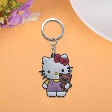 640cb9b237e 2 stks/partij Hello Kitty Leuke PVC Sleutelhanger Cartoon Sleutelhanger  Anime Figuur Voor Kinderen Speelgoed