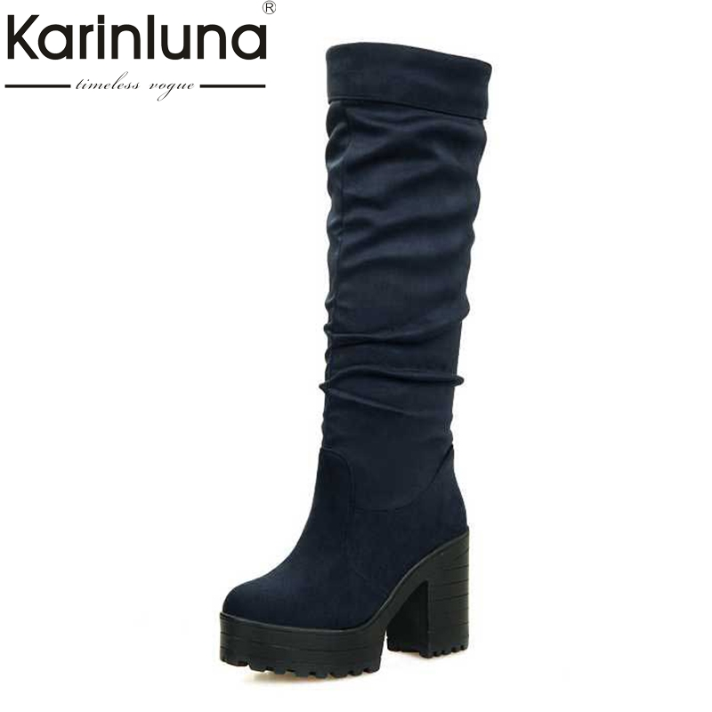 KARINLUNA 2017 Women Flock slip-on Round Toe Platform Knee Boots Winter Square High Heel Concise Fashion Woman Shoes Women цена