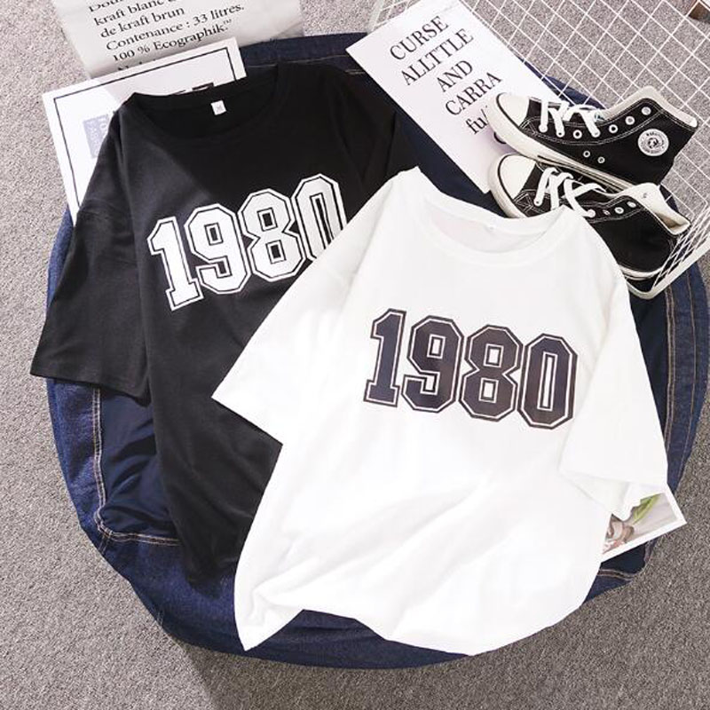 Numbers Print T Shirt Women Spring Summer New Style Short Sleeve O Neck Cotton Spandex Women Tops Casual Loose Woman T-shirts